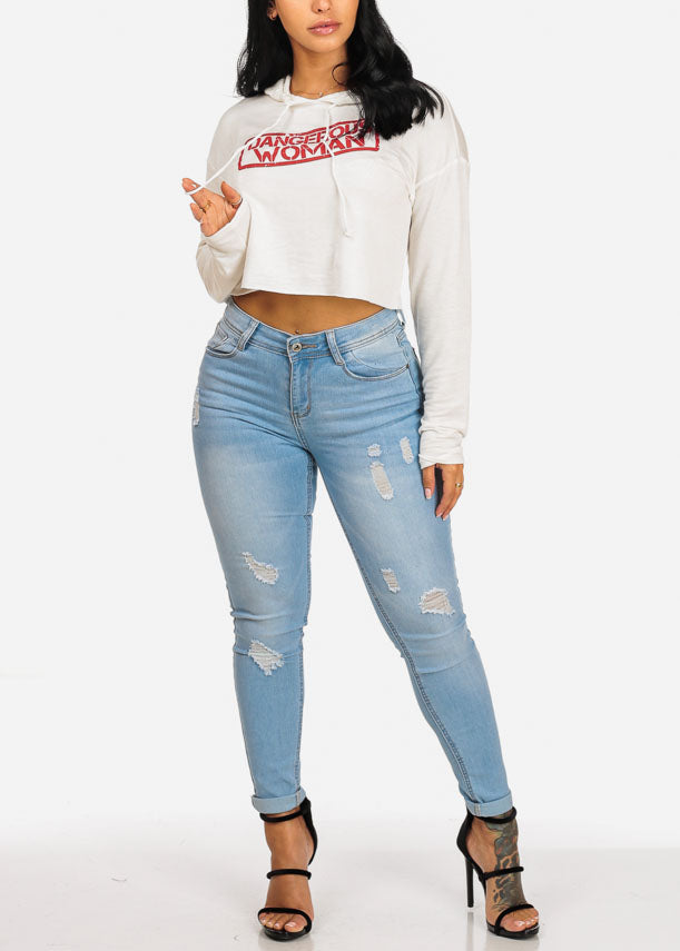 Dangerous Woman Graphic Cropped Sweatershirt
