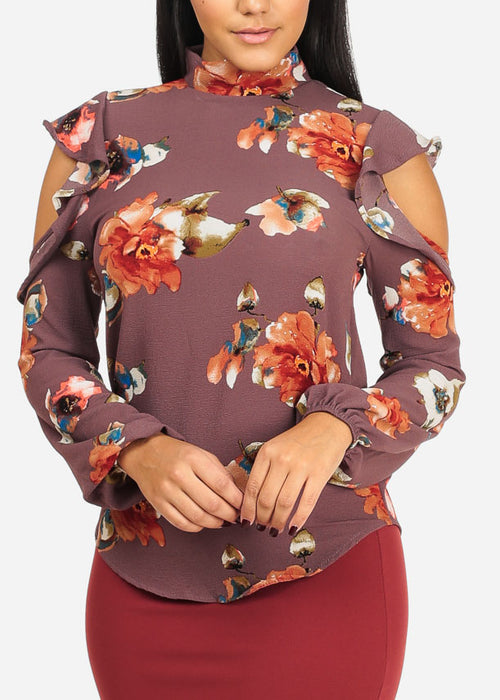 Casual Purple Floral Print Top
