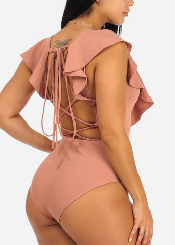 Image of Sexy Mauve Ruffle Detail Bodysuit