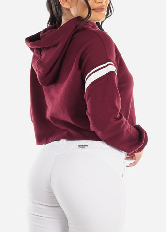 "Image of Burgundy Cropped Sweater ""Good Vibes"""