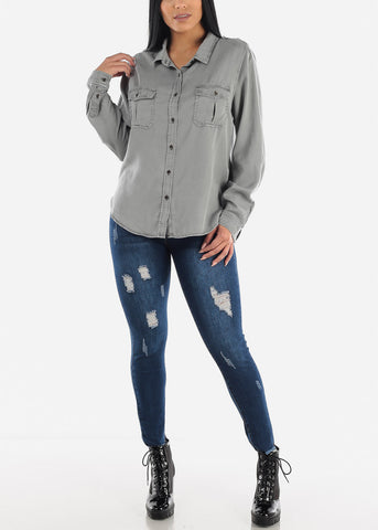 Image of Grey Long Sleeve Button Down Shirt