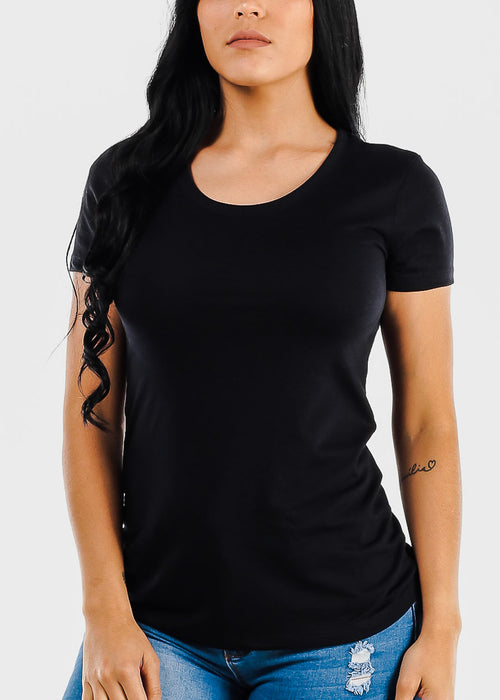 Short Sleeve Black Crew Neck Tee