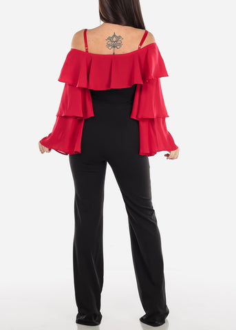 Off Shoulder Red Ruffle Sleeve Jumpsuit