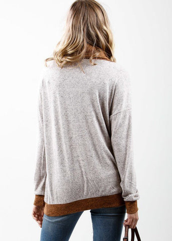 Image of Two Tone Cowl Neck Long Sleeve Pullover