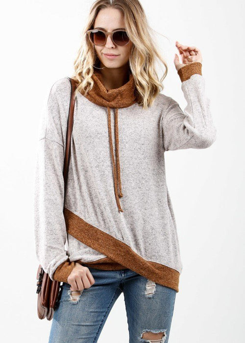Two Tone Cowl Neck Long Sleeve Pullover