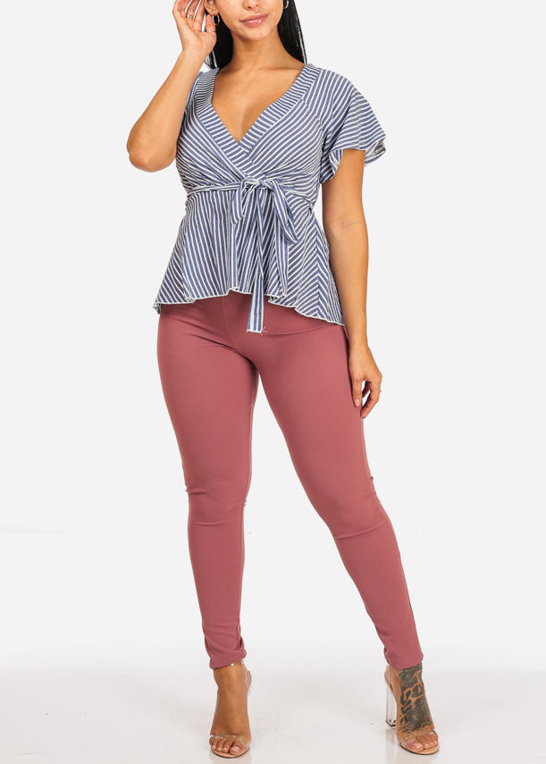 Mauve High Waisted Skinny Leg Pants
