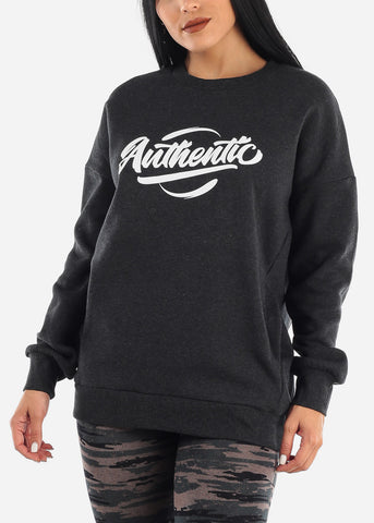 "Image of ""Authentic"" Charcoal Graphic Sweatshirt"