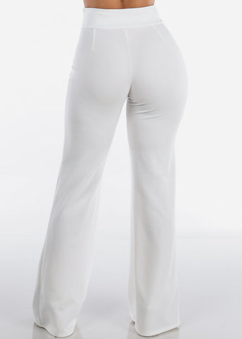 Elegant High Rise White Pants