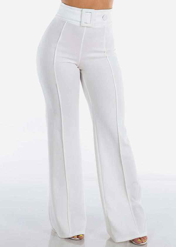 Women's Junior Ladies Sexy Stylish Elegant Night Out Party Clubwear High Waisted Wide Legged White Dressy Pants