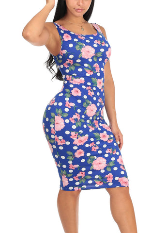 Image of Sexy Slim Fit Bodycon Sleeveless Floral And Polka Dot Print Royal Blue Midi Knee Length Stretchy Dress