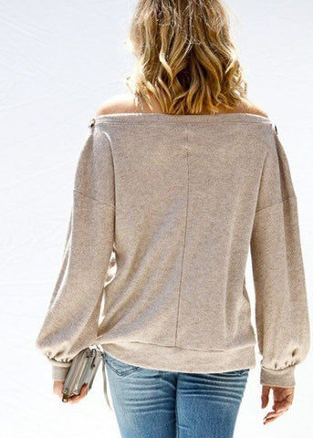 Image of Off Shoulder Knit Taupe Sweater