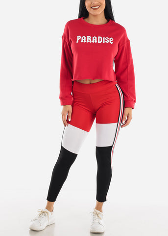 """Paradise"" Red Printed Pullover"