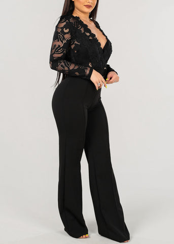 Image of Sexy Floral Lace Black Jumpsuit