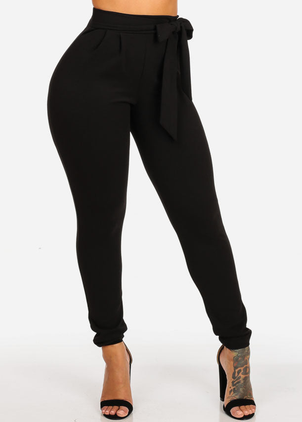 High Waisted Skinny Leg Black Pants