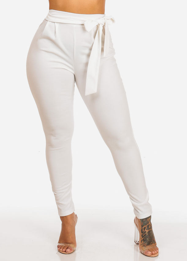 High Waisted Skinny Leg White Pants