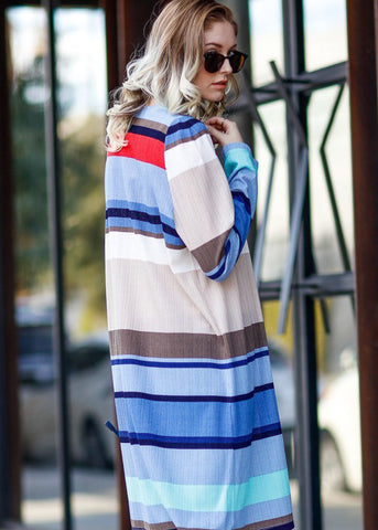 Multicolor Stripe Maxi Cardigan