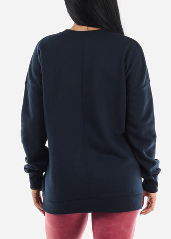 "Image of ""Open Your Heart"" Navy Graphic Sweatshirt"