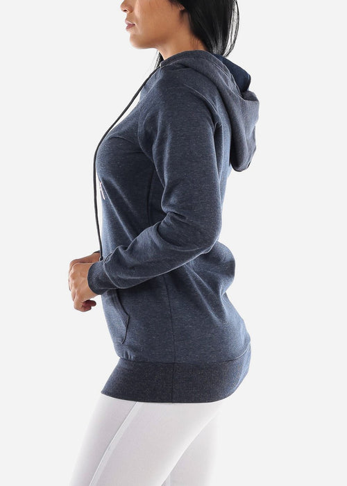 "Navy Graphic Tunic Hoodie ""Open Your Heart"""