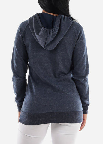 "Image of Navy Graphic Tunic Hoodie ""Open Your Heart"""