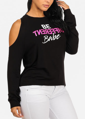 Be Different Babe Graphic Black Blouse