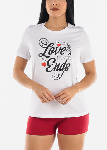 "Image of ""Love Never Ends"" White Graphic T-Shirt"
