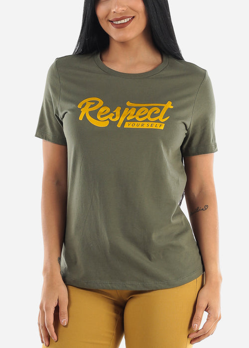 """Respect Yourself"" Olive Top"