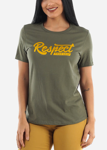 "Image of ""Respect Yourself"" Olive Top"
