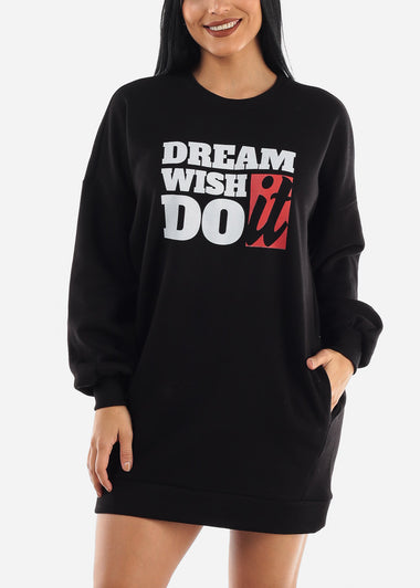 """Dream Wish Do It"" Black Tunic Dress"