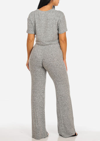 Image of Grey Crop Top W High Waisted Pants (2 PCE SET)