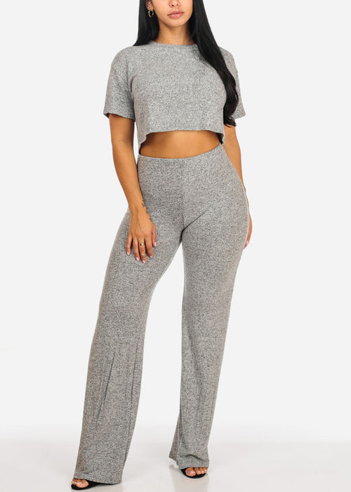 Grey Crop Top W High Waisted Pants (2 PCE SET)