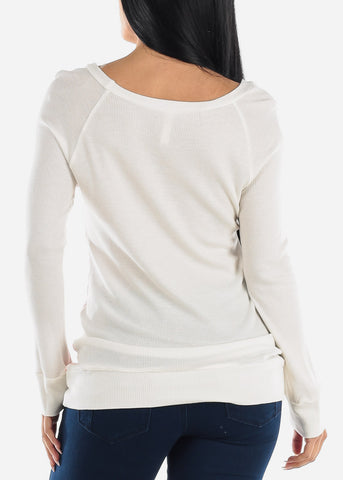 Image of Coral & White Long Sleeve Tunic Top