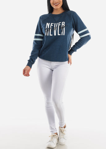 "Image of ""Never Give Up"" Navy Sweatershirt"