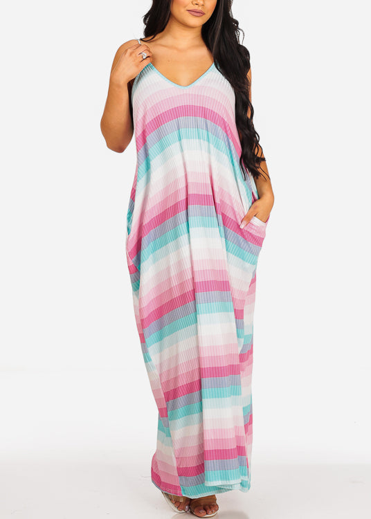 Stretchy Pink Stripe Flowy Maxi Sun Dress