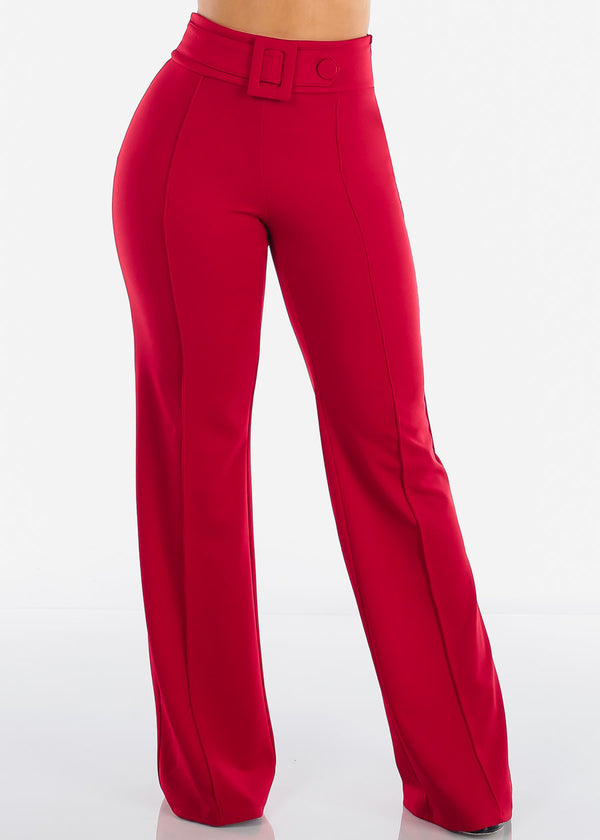 Women's Junior Ladies Sexy Stylish Elegant Night Out Party Clubwear High Waisted Wide Legged Red Dressy Pants