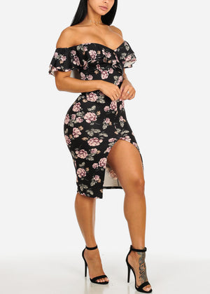 Black Floral Off-Shoulder Bodycon Dress