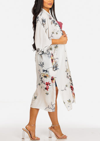 Lightweight Elbow Sleeve Floral Print White Maxi Cardigan