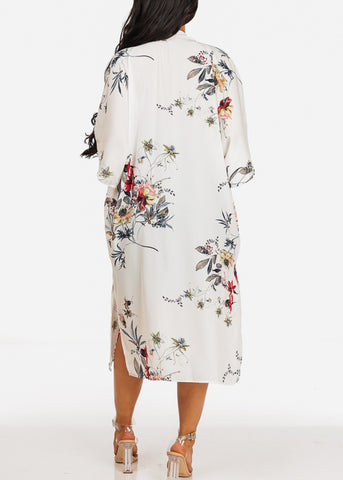 Image of Lightweight Elbow Sleeve Floral Print White Maxi Cardigan