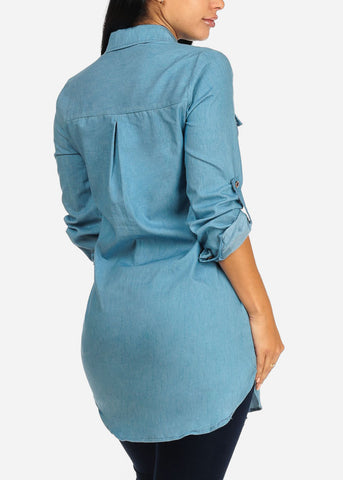 Image of Light Wash Button Up Denim Tunic