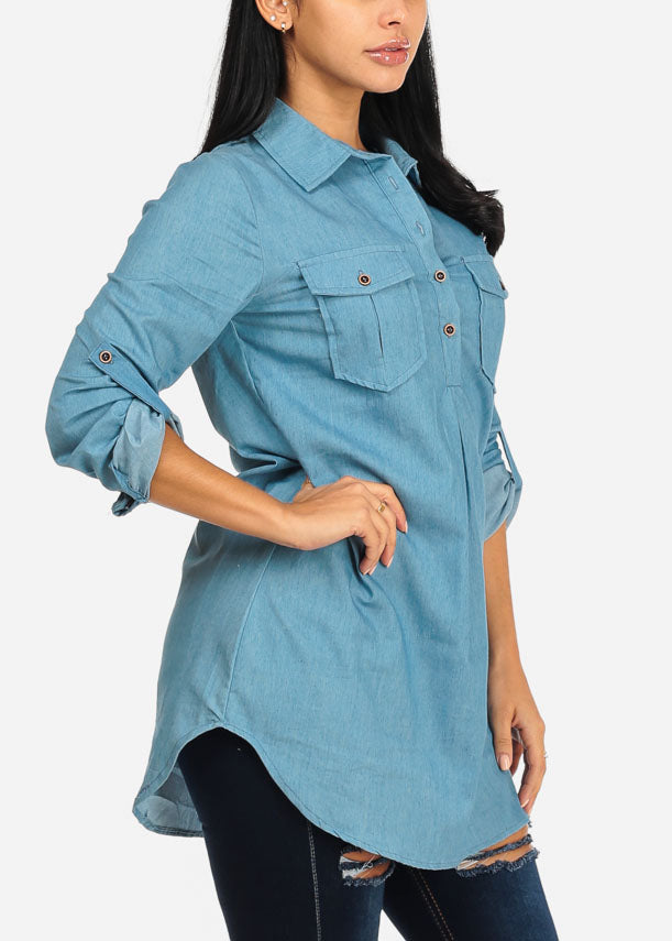 Light Wash Button Up Denim Tunic