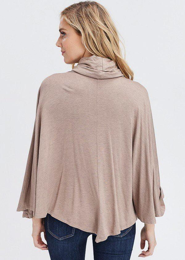 Taupe Turtleneck Poncho