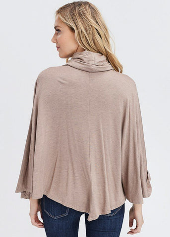 Image of Taupe Turtleneck Poncho