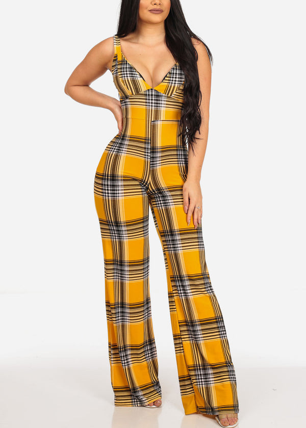 Sexy Clubwear Night Out Disco Super Stretchy Wide Legged Yellow Plaid Print Jumpsuit Jumper