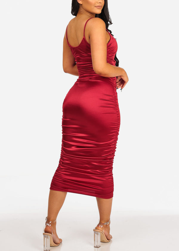 Sexy Red Satin Midi Dress