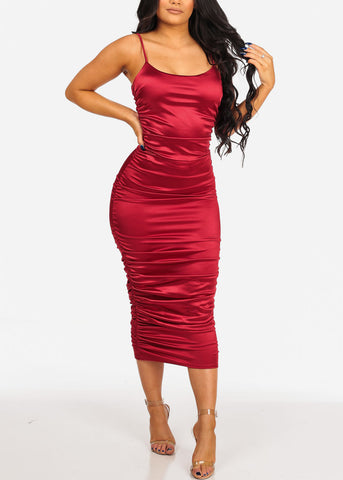 Women's Junior Ladies Sexy Must Have Solid Red Wine Silk Night Out Party Clubwear Ruched Sides Silk Midi Below The Knee Dress