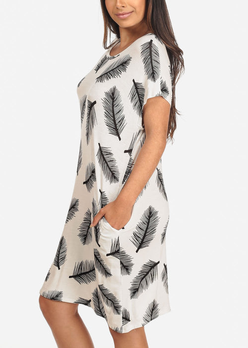 Women's Junior Ladies Casual Must Have Cute White Feather Print Flowy Loose Fit Dress With Pockets