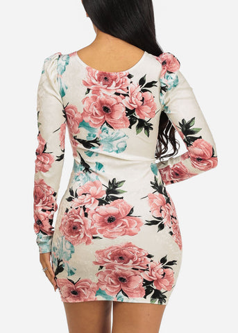 Image of Cute Ivory Velvet Floral Dress