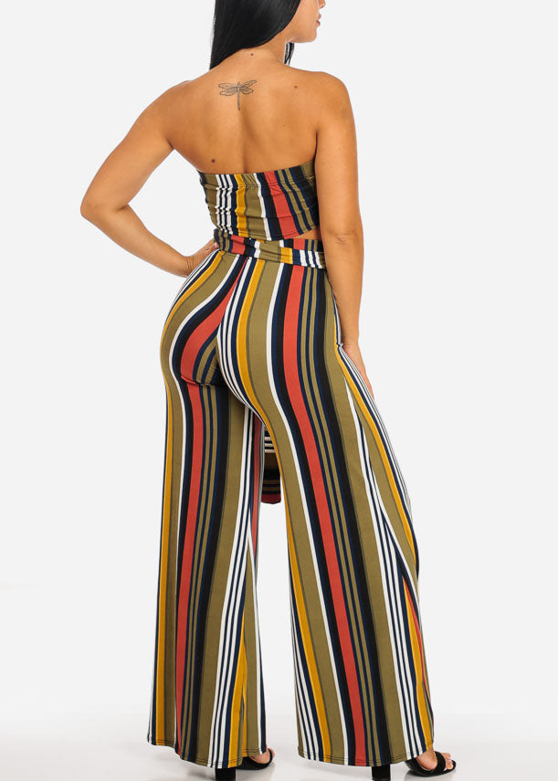 Green Stripe Strapless Top W Belt Stripe Pants (2 PCE SET)