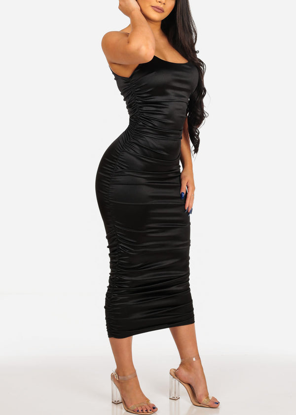 Sexy Black Satin Midi Dress