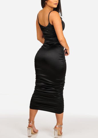Women's Junior Sexy Clubwear Night Out Solid Black Spaghetti Strap Ruched Sides Silk Midi Below The Knee Dress