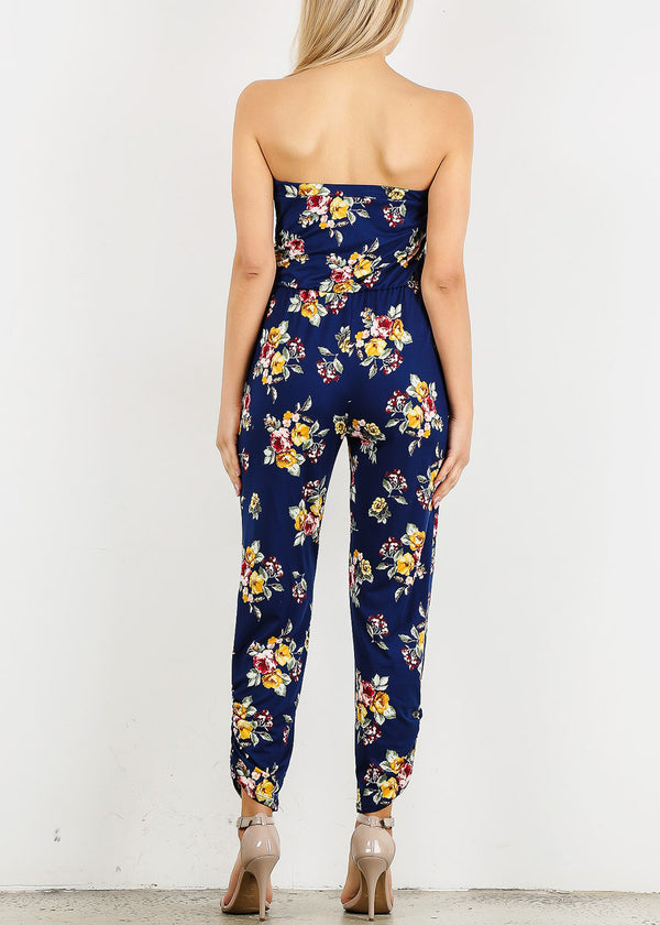 Strapless Navy Floral Jumpsuit